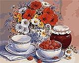 Pintar por Numeros para Adultos Niños Flores y frutas con Pinceles y Pinturas DIY Pinturas-Óleo para Niños Principiantes para Decoración del Hogar (40×50cm, Sin Marco)