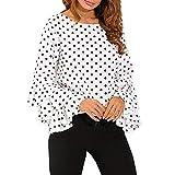 Shirt Donna Top Donna Sexy Scollo A V Moda Maniche Svasate in Chiffon Sottile Dolce Splendido Casual Top Autunno Nuovo all-Match Vacanza Tempo Libero Donne Sexy Top E-White(A) XL