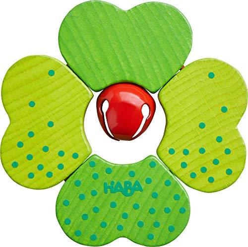 HABA 305579 - Juguete de Agarre de trébol para bebés a Partir de 6 Meses para estimular los sentidos y Promover Las Habilidades motoras Finas y Primer Agarre en Lindo diseño de trébol con Campana