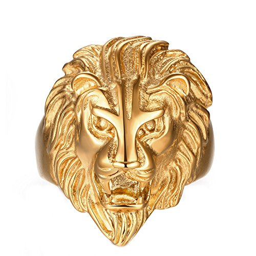 YAZILIND Vintage Jewelry Punk Style Lion Head Gold Plated Rings for Mens Size T1/2