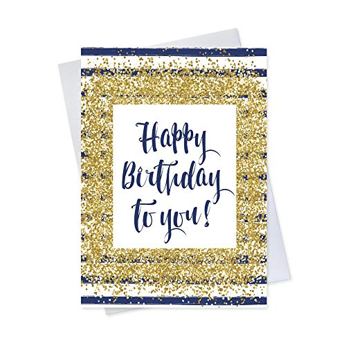 Birthday Greeting Cards - B1704. Greeting Cards Featuring a Birthday Message With a Golden Confetti and Navy Stripe Design. Box Set Has 25 Greeting Cards and 26 Bright White Envelopes.