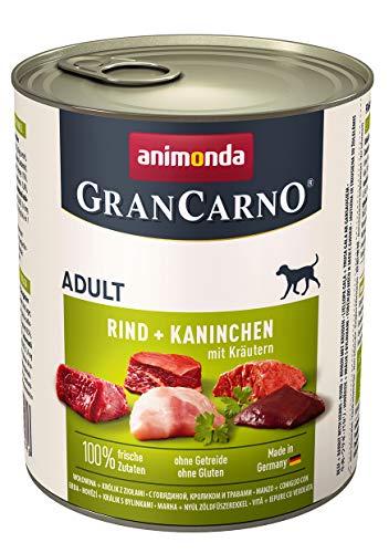 animonda Gran Carno adult Hundefutter, Nassfutter für erwachsene Hunde, Rind + Kaninchen mit Kräutern, 6 x 800 g