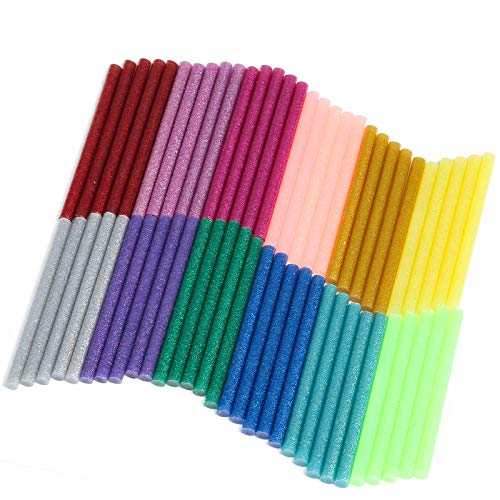Naler Bâton de Colle Chaude 7mm Colle Thermofusible Coloré Paillette pour Décoration Créative DIY 12 Couleurs Lot de 60