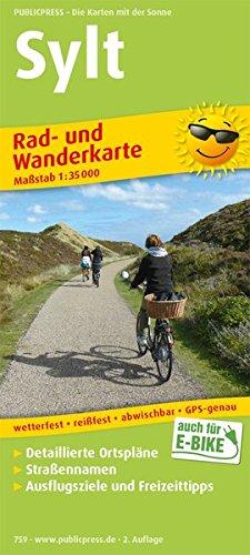 Sylt: Rad- und Wanderkarte mit detailierten Ortsplänen, Straßennamen, Ausflugszielen und Freizeittipps, wetterfest, reißfest, abwischbar, GPS-genau, 1:35 000 (Rad- und Wanderkarte / RuWK)