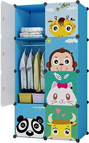 Sawekin Kinderregal mit Tiermotiv Kinder Kleiderschrank Kleiderstange Steckregal Bücherregal für Kinderzimmer DIY/Kunststoff Kleiderschrank Regalsystem mit 16 Würfeln (8 Würfeln Blau)