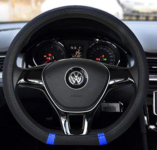 LDSHW Lenkradabdeckung Für Neue D Form lenkradbezug atmungsaktive Automobil Auto Sport lenkradbezüge für VW Volkswagen Santana 2016 / Jetta 2017, SCHWARZ UND BLAU