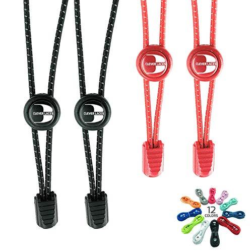CLEVER LACES - Lacets Élastiques avec Système No-Tie - Ideal pour les Sports, et de Temps Libre - Rapide, Confortable Lacets Réfléchissants pour Enfants et Adultes (Deep Black / Chilli Red)