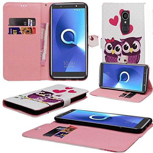 Alcatel 3C Hülle, Mobile Stuff Alcatel 3C Hülle [Kartenhalter] [Magnetverschluss] Premium Leder Flip Wallet Hülle Cover für Alcatel 3C 5026A 5026C Smartphone (Familieneule)