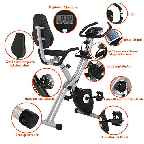 ANCHEER Exercise Bike Fitness Bike, Foldable F-Bike, Indoor Cycling Bike at Home, Fitness Bike with 11 Levels Adjustable Magnet Resistance and Arm Training Bands (black)