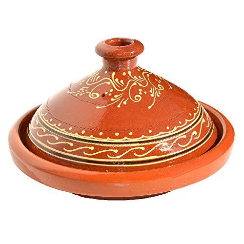 Marokkanische Tajine zum Kochen glasiert Ø 30 cm für 4-5 Personen | Handgefertigt Tontopf Gartopf Schmortopf Marokkanisch Arabisch Orientalisch