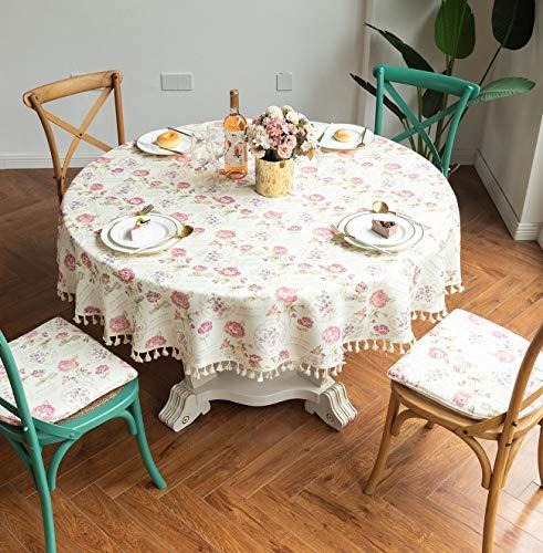 L/S Tischdecke Abwaschbar Rund 120cm Gartentisch Tischtuch Blumen Vintage Tafeldecke Wasserdicht Schmutzabweisend Lotuseffekt Leinenoptik Außen Balkon