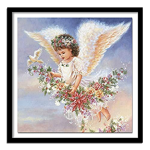 5D DIY Diament Haft Angel Girl Wings Fly Diament Malarstwo Cross Stitch Pełne Okrągłe Wiertła Domowe Ozdoby Obraz 30x30cm