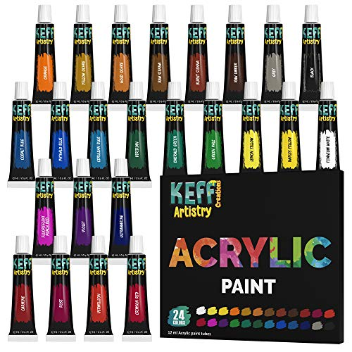 KEFF Creations Acrylic Paint Set, 24 Colors Acrylic Paint Tube Richly Pigmented Acrylic Paint, Non-Toxic Great for Artist, Adults & Kids, Paint Supplies Craft Supplies
