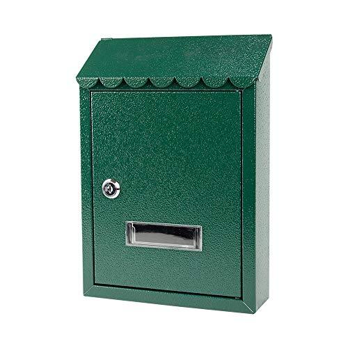 Brievenbussen Kleine opknoping brievenbus met slot, buiten metalen regendichte Idyllische retro brievenbus doos, voor huis, tuin, gang, boerderij, groene veiligheid brievenbussen