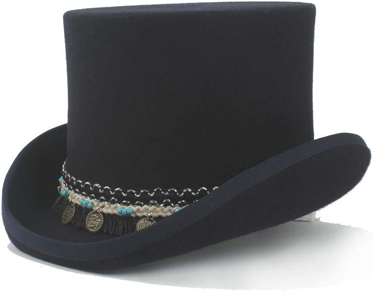 HHF Caps & Hats Steampunk Magician Hat Women Men Steampunk Top Hat 100% Wool Crazy Hat Braided Tassel Round Pendant Traditional Flat Top Hat President Hat (color   Black, Size   61cm)