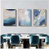 QIAOB Impresiones en Lienzo, póster Abstracto de lámina Dorada, Paisaje Marino Azul, imágenes artísticas de Pared, impresión en Lienzo, Pintura, decoración sin Marco