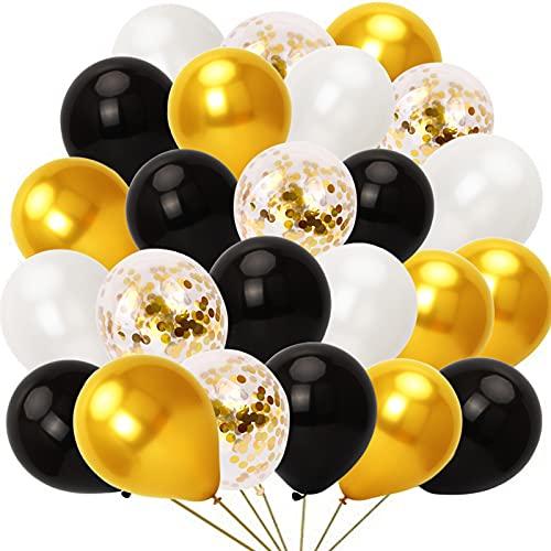 KAMEUN Ballon Or Noir Anniversaire, 60 Pièces Ballons de Baudruche Or et Noir +10 Ballons Latex Transparent avec Confettis d'Or pour Deco Anniversaire, Fête Mariage et Decoration Nouvel An