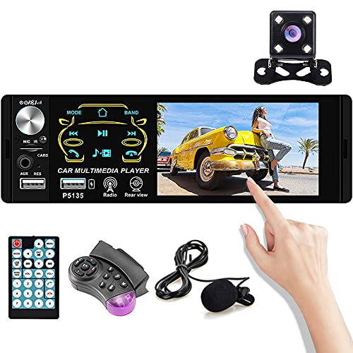 4.1 inch Single Din Car Radio Touch HD capacitive Screen with Bluetooth MP5 Player Support FM Receiver Digital Audio Music Mp3 Player MIC/Dual USB/TF/AUX + Backup Camera Remote Control