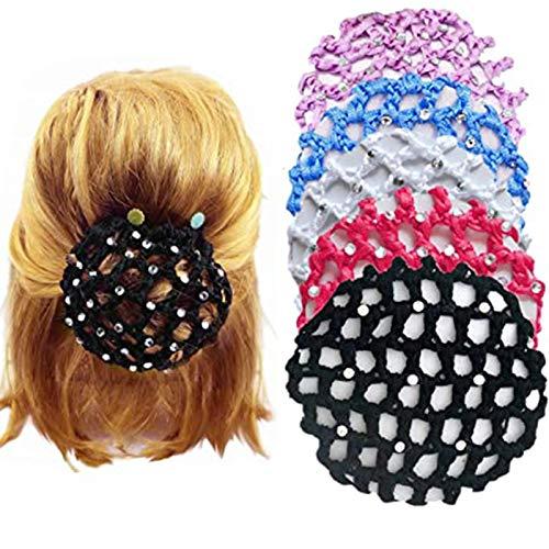 9 Stück Dutt Netz Haarnetz Bun Frisurenhilfe Stoff Knotennetz Frisurenhilfe Bun Knotennetz schwarz für Gymnastik Rhythmische Sportgymnastik Ballett Reiten Eiskunstlauf Tanz Knotennetz(mit Strass