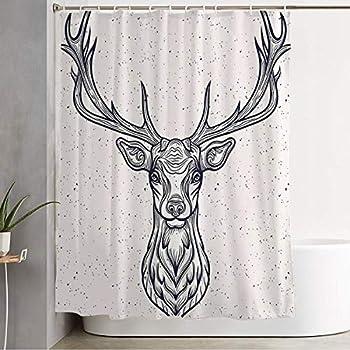 Starobkn Shower Curtain Whitetail Horned Deer Graphic Head Texture White Design Rack Animals Tattoo Wild Wildlife Vintage Decorative Bathroom Waterproof Polyester Fabric with Hooks 72x78 Inch