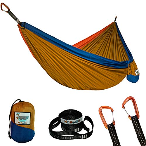 Mr. Mocks Double Hammock, with Light Weight Tree Straps, Aluminum Carabiners and Easy Stuff Sack, Great Travel and Camping Hammock (Wild Turkey)