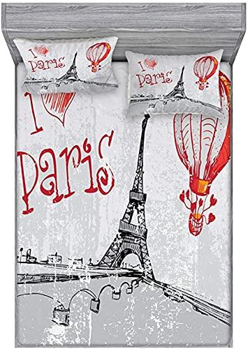HSBZLH Juegos De Fundas para Edredón Juego De Sábana Ajustable Y Funda De Almohada Love I Love Paris Romance Globo Aerostático con Corazones Estilo Doodle Imprimir Imagen