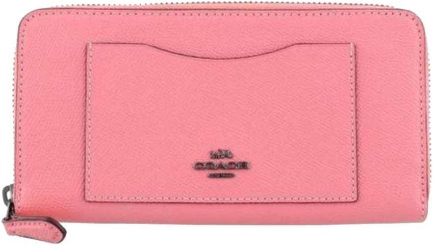 COACH Crossgrain Leather Accordian Zip Wallet - #54007 - Pink Lemonade
