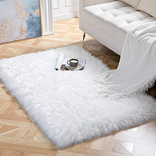 Tapis Faux en peau de mouton,Imitation Toison Moquette Fluffy Soft Longhair Décoratif Coussin de Chaise Canapé Natte (Blanc, 75_x_120_cm)