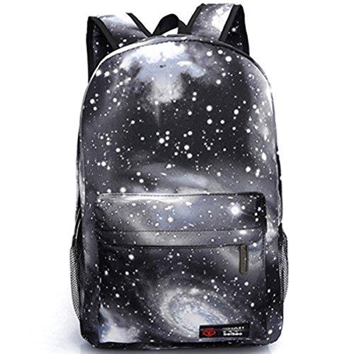 3D9 Cool Fashion Galaxy Backpack College de cartables à dos (noir)