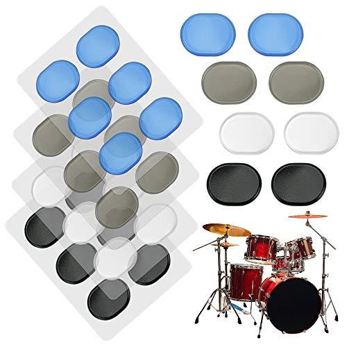 24 almohadillas de gel para tambores para tambores, control de tono, músicos, entusiasta y principiante, transparentes (transparente, azul, marrón, negro)