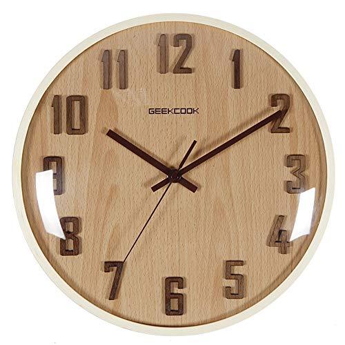 Zjcpow-HO Reloj de pared moderno con números arábigos de madera, silencioso, sin tictac, cuarzo, para oficina, cocina, baño, sala de estar, dormitorio (color: beige, tamaño: 30 cm)