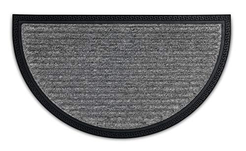 ASTRA Fussmatten - Sauberlauf halbrund - Outdoorfußmatte - Fussabtreter - Stufenteppiche geeignet - strapazierfähige Türmatte - 40 x 70 cm - Silber