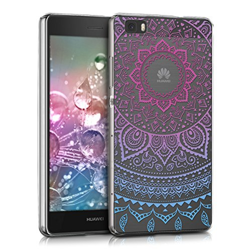kwmobile TPU Silicone Case Compatible with Huawei P8 Lite (2015) - Crystal Clear Smartphone Back Case Cover - Indian Sun Blue/Dark Pink/Transparent