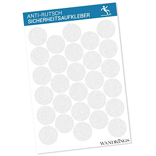 Wandkings Anti-Rutsch-Sticker 28 Stück Klebepunkte 4,8 cm Durchmesser für Sicherheit in Badewanne und Dusche