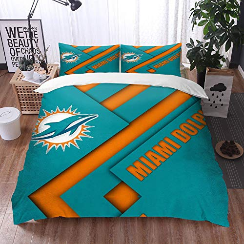 XiHi Duvet Cover Set, Bed Sheets, Rugby team Miami Dolphins Solid color background Artistic creative theme,1 Duvet Cover Set 135 * 200 cm,+2 pillowcase 50x80cm
