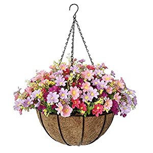 Lesrant Artificial Hanging Basket Flowers for Outdoor Spring Silk Artificial Daisy with 12 in Hanging Planter for Outside Home Patio Garden Balcony Decoration