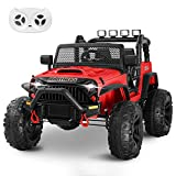 HOMFY Kids Ride on Truck Toy 12V Electric Vehicles Motorized Toddler Realistic Off-Road UTV Car with 2.4G Parental Remote Control, MP3/Bluetooth Player, LED Light, Two Boxes (Red)