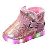 Botas de Nieve Bajos para Niños Niñas Pelo Invierno PAOLIAN Zapatos de Piel con Luces Bebés...
