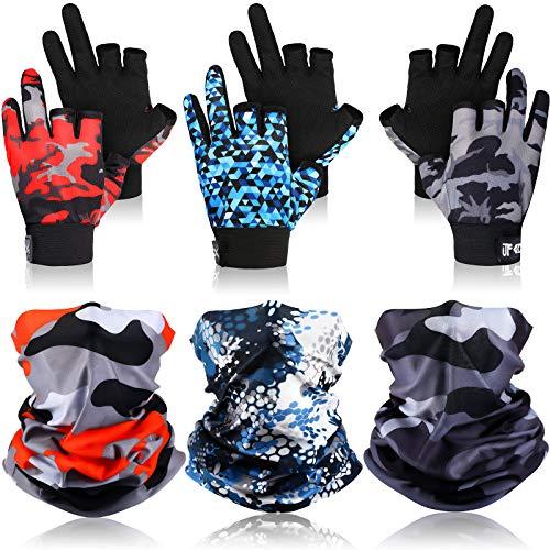 6-teiliges Angelhandschuh-Set beinhaltet 3 Paar UV-Schutzhandschuhe, fingerlose Sonnenfanghandschuhe und 3 Stück Angel-Halsmanschette für Männer und Frauen, Outdoor, Kajakfahren, Rudern