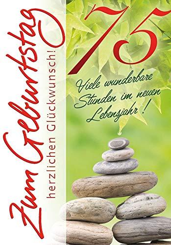 Geburtstagskarte zum 75. Geburtstag Basic Classic - Steinturm - 11,6 x 16,6 cm