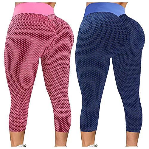 ZGMA 2pcs Mallas de Deporte para Mujer Push up Liso Octavo Pantalones Leggins Secado rápido Deportivos de Cintura Alta Elásticos para Yoga Running