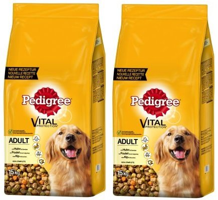 Pedigree Adult Complete, Trockenfutter für Hunde mit Vitamin E–Vital Schutz Chicken, 2x 15kg