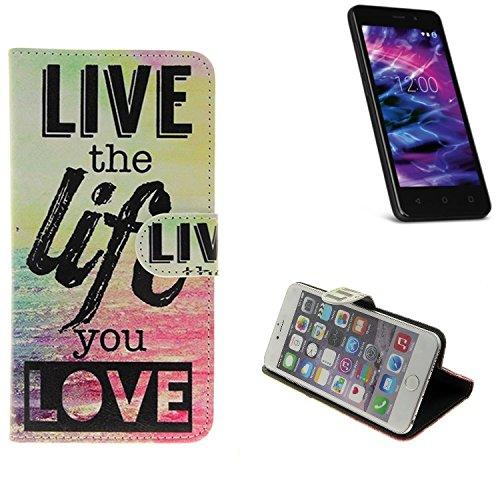 K-S-Trade® Schutzhülle Für Medion Life E4504 Schutz Hülle 360° Wallet Case ''live Life Love'' Schutzhülle Handy Tasche Handyhülle Etui Smartphone Flip Cover Standfunktion (1x)