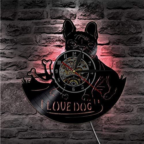 Registro de reloj de pared 1 pieza me gusta Dog House Pet Pug Vinyl Record reloj de pared Bulldog francés perro Vintage colgante reloj de pared decoración para el hogar perro amante regalo Reloj de p