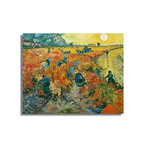 sjkkad De rode wijnstokken van Vincent Van Gogh poster druk canvas schilderij kalligrafie wandschilderijen voor woonkamer slaapkamer wooncultuur 60 x 80 cm geen lijst
