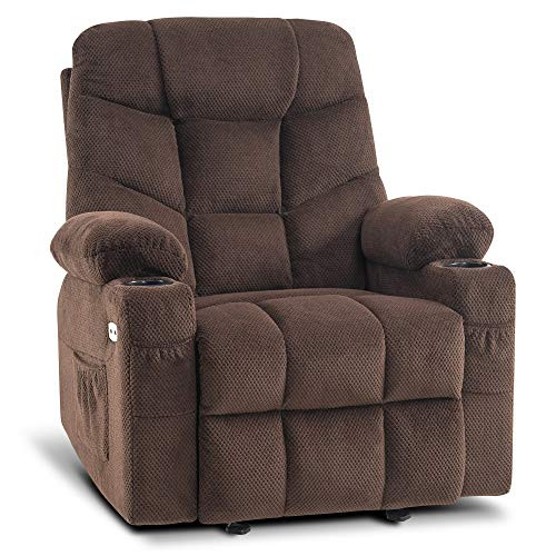 Mcombo Manual Glider Rocker Recliner Chair with Cup Holders for Nursery, USB Ports, 2 Side & Front Pockets, Plush Fabric 8002 (Brown Fabric)