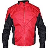 The Jasperz Mens Supeman Superheroe Red and Black Shield Smallville Biker Cordura Fabric Jacket (X-Small (36-38) Best For Chest Size, Rojo y Negro)