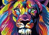 Suntown Malen nach Zahlen 40 x 50cm DIY Leinwand Gemälde für Erwachsene und Kinder mit 3 Bürsten und Acrylfarben - Abstrakter König der Löwen (Nur Leinwand)
