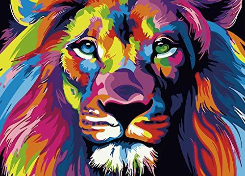 WONZOM [Sin Marco DIY Pintura al óleo, Kit de Pintura por Números para Adultos Niños Principiantes - León Colorido Animales 16 * 20 Pulgadas