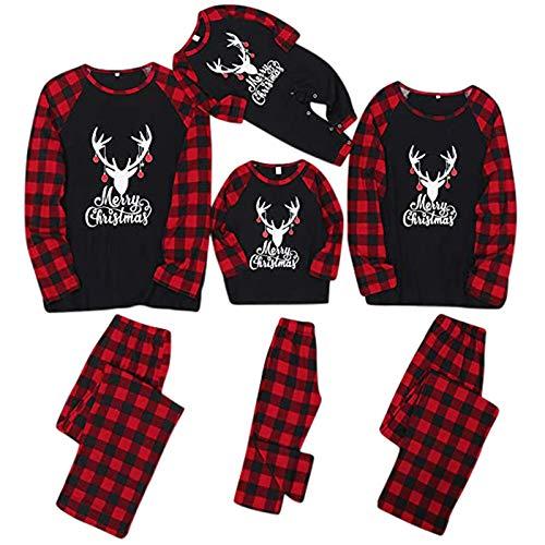 Fossen MuRope Pijamas Navideños Familiars a Juego de Rayas Negras y Verdes, Pijama Mujer Invierno...